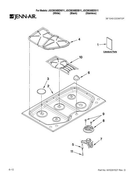 jenn air cooktop parts jenn air 36 quot gas cooktop parts model jgc8536bds11