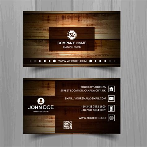 Brown business card with wooden texture Vector Free Download
