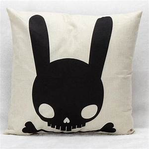 manufacturers selling black and white cute skull rabbit With cute black and white throw pillows