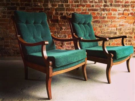 Antique Armchairs Pair Victorian Beech, 19th Century