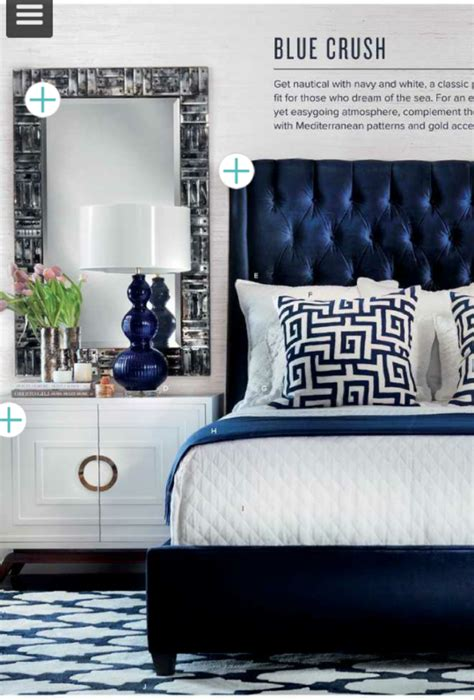 navy tufted headboard  high fashion home design