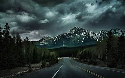 Mountain Dark Road Landscape Nature Trees Forest