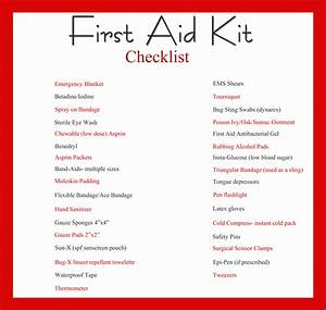 First Aid Kit Check Lists - The Prepared Page
