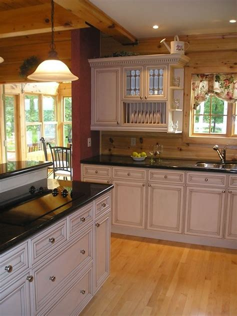 white kitchen  log home home decor log home kitchens