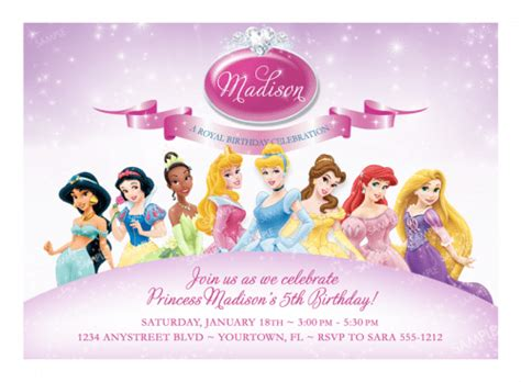disney princess birthday invitations printable