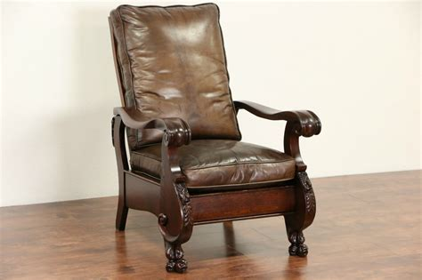 leather recliners antique sold oak 1900 antique morris recliner chair leather 3700