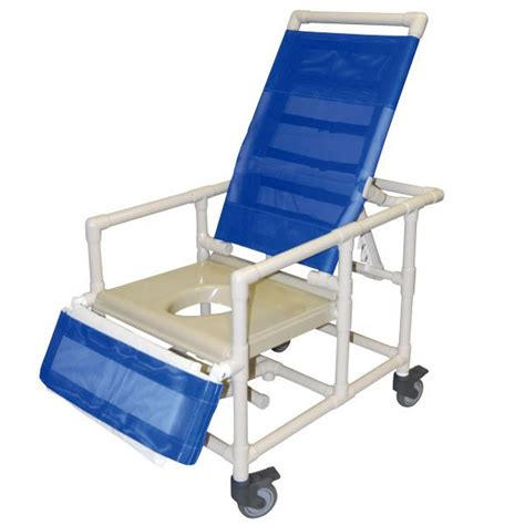 24 wide reclining shower commode chair with legrest