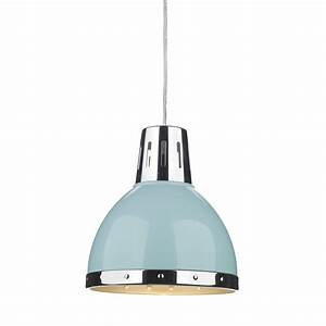Retro style ceiling pendant light pale blue with chrome detailing