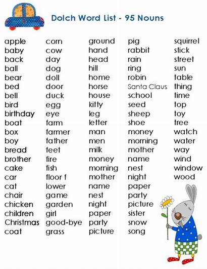 Sight Dolch Words Nouns 95 Word Vocabulary