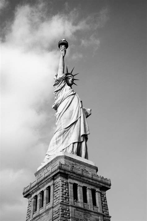 Free Images : black and white, new york, manhattan, monument, statue of liberty, usa, united states of america, landmark, sculpture, art, temple