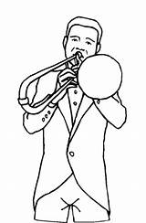 Trombone Coloring Player Template Printable Freeprintablecoloringpages sketch template