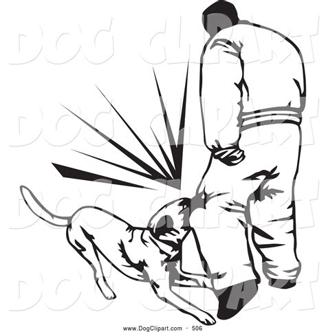 bit clipart black and white clip of a trained guard attacking an intruder and
