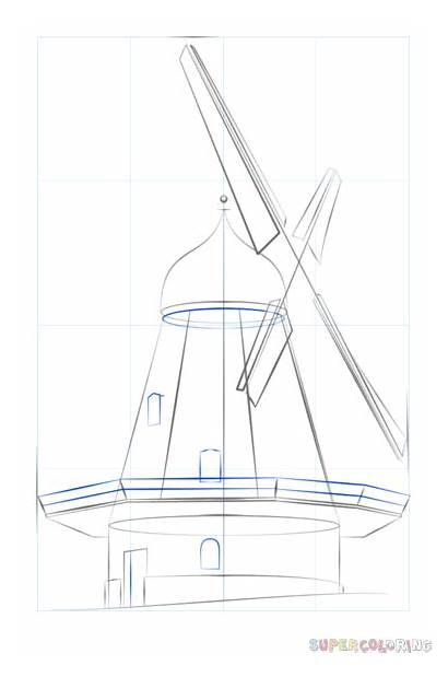 Windmill Draw Step Drawing Dutch