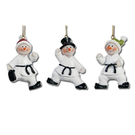 karate snowmen ornament set karate christmas ornaments