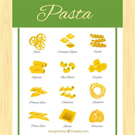 different type de pates different types of pasta vector free