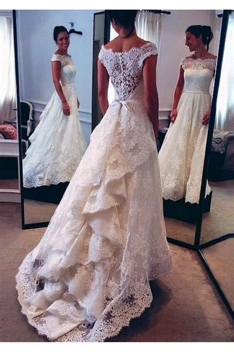 A Line Bateau Lace Vintage Wedding Dresses Bridal Gowns