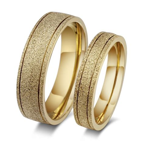 stylish gold titanium steel promise ring  couples