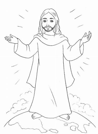 Jesus Coloring Pages Christ Ascension Sheet Template