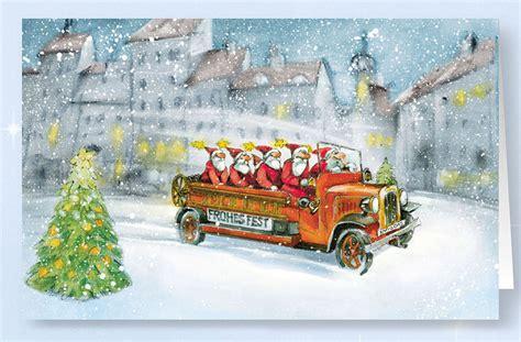 weihnachtskarte branchenkarte ffw feuerwehr loeschzug