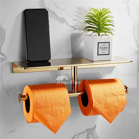 high  double gold toilet paper holder wall mount paper