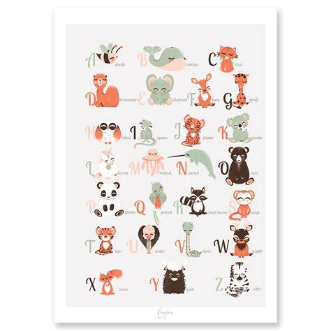 idée chambre bébé mixte affiche éducative abécé des animaux français ou