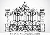 Gate Iron Gates Wrought Clipart Coloring Driveway Fence Rf Entrance парадные Bestvector Clipartof Forge Pagar Works sketch template