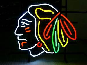 Wiki Neon Sign Blog NHL Chicago Blackhawks Football Neon