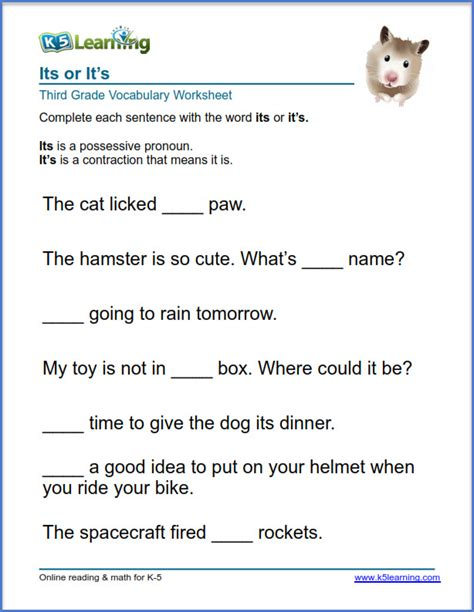 grade 3 vocabulary worksheet use of its or it s k5