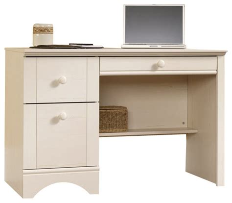 sauder harbor view computer desk in antiqued white beach