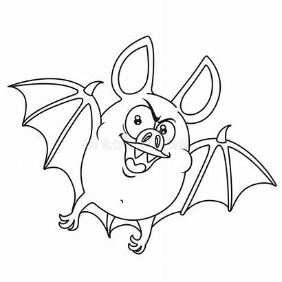 Bat Halloween Fat Outlined Flying Coloring