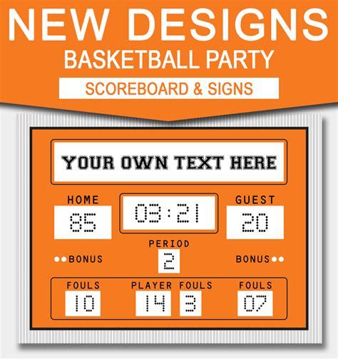 printable basketball scoreboard template basketball signs