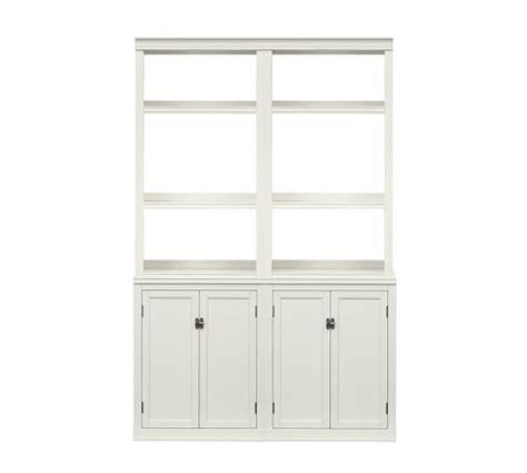 modular bookcases with doors logan bookcase with doors antique white pottery barn