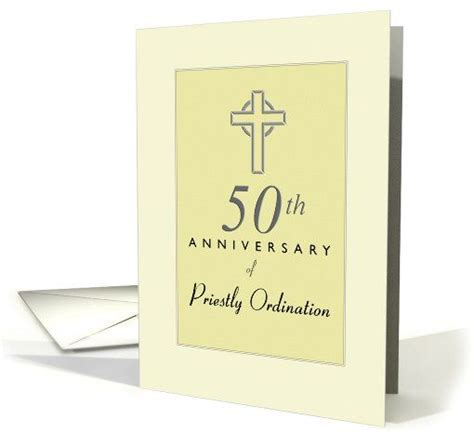 priest 50th anniversary of ordination yellow with cross card may god continue to bless you with