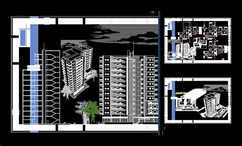 story residential building dwg section  autocad designs cad