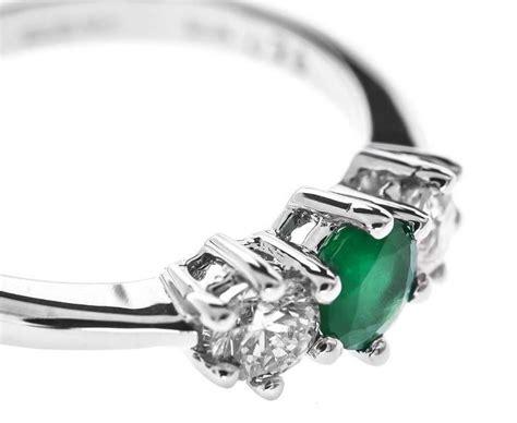 carat white gold emerald  diamond trilogy ring