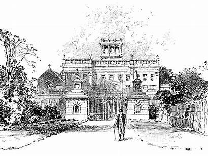 Gardens Trentham Hall Shropshire Cheshire Etching 19th