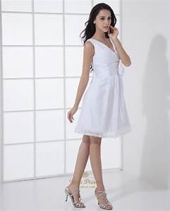 simple white short v neck lace wedding dresses with flower With simple short white wedding dress