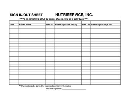 Childcare Sign In Sheet Template by Best Photos Of Daily Sign In Sheet Day Care Sign In And
