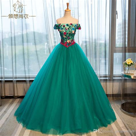 real meadow green flowers baroque ball gown medieval
