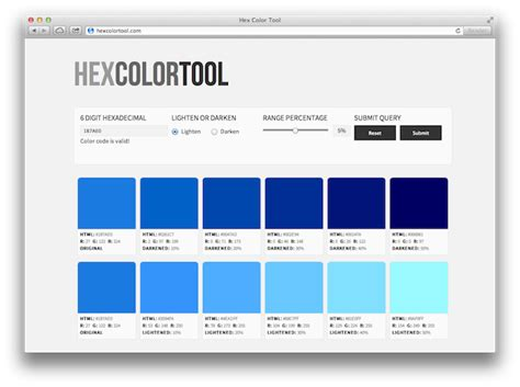 find the right hexadecimal color with hex color tool
