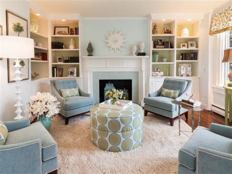 pale blue  green living room  fireplace hgtv