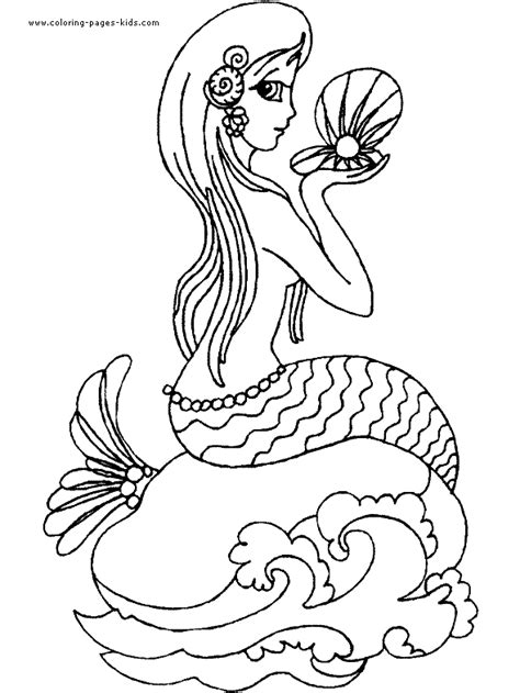 mermaid color page coloring pages  kids fantasy medieval coloring pages printable