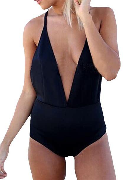 halter v neck swimsuit ybenlow womens v neck halter backless bandage