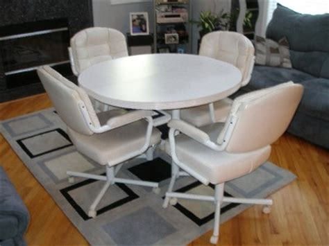 White Dinette Kitchen Dining Table Chairs Swivel Wheels