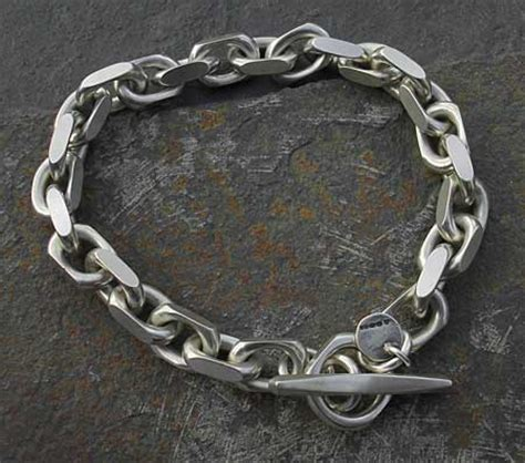 mens chunky silver chain bracelet lovehave   uk