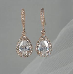 rose gold bridal earrings pink gold wedding jewelry With gold wedding ring earrings