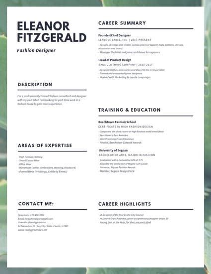 Fashion Resume Templates by Purple Photo Customer Service Resume