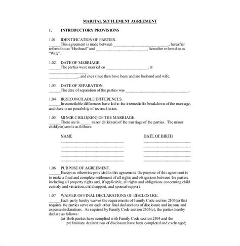 preliminary sale agreement template divorce settlement agreement template indiana templates
