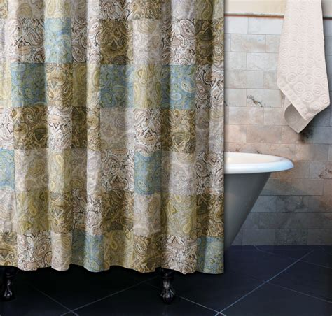 vintage paisley green shower curtain