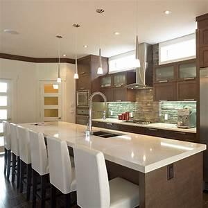 grand ilot contemporain avec comptoir de quartz cuisine With grand ilot de cuisine